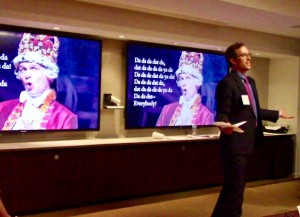 Peter Kraybill performs in the role of patent examiner King George III during the presentation to the Benjamin Franklin American Inn of Court.